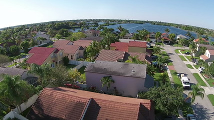 Aerial view residential neighborhood in Florida