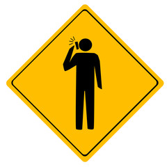Road sign Man working