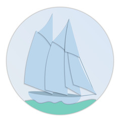 Sailboat paper flat design