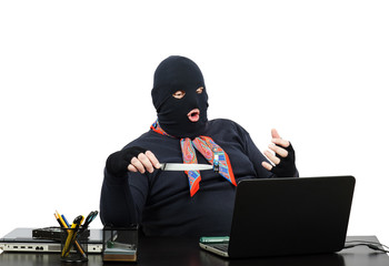 Computer robber holding usb flesh memory on knife