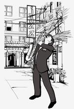 joueur de saxophone dans une rue la nuit