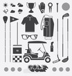 Vector Set: Golf Equipment Icons and Silhouettes - 64559486