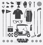 Vector Set: Golf Equipment Icons and Silhouettes
