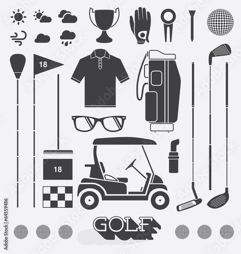 Fototapeta Vector Set: Golf Equipment Icons and Silhouettes