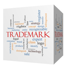 Trademark 3D cube Word Cloud Concept