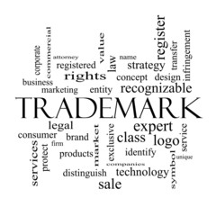 Trademark Word Cloud Concept in black and white