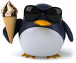 Penguin and ice cream