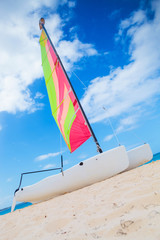 catamaran sailing boat on the beach