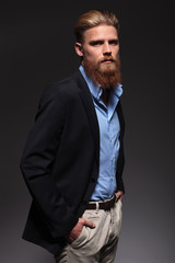 portrait of a serious bearded business man