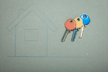 Hand drawn house and keys, real estate & building