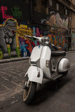 Vespa scooter parked in Hosier Lane, Melbourne