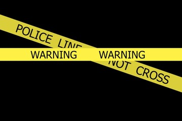 Warning  and Police Line Do Not Cross on  yellow  tapes