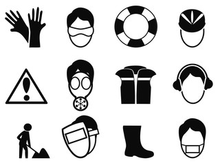work safety icons set