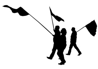 Man and women whit flags