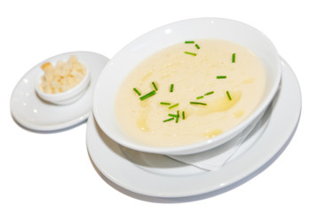 Cream soup, greens and croutons, restaurant menu