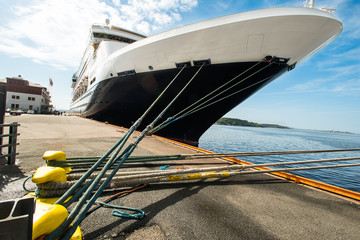 Moored cruise ship ropes