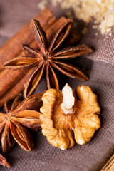 Star anise walnut brown sugar with cinnamonclose up