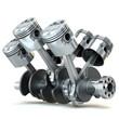 V6 engine pistons. 3D image. - 64563868