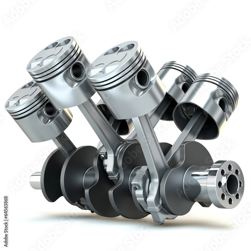 Leinwanddruck Bild - Oleksandr Delyk : V6 engine pistons. 3D image.