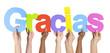 Obrazy na płótnie, fototapety, zdjęcia, fotoobrazy drukowane : Multiethnic Group of Hands Holding Gracias