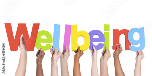 Diverse Hands Holding The Word Wellbeing - 64564201