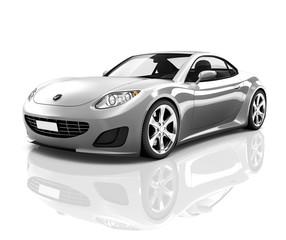 3D Luxury Silver Sports Car