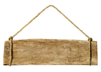 Wooden sign hanging from a rope