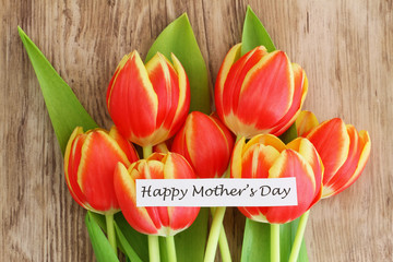 Happy Mother's Day with red and yellow tulips