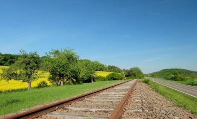 Rapsfeld und Schiene