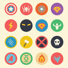 superhero flat icons