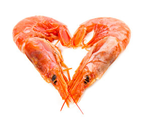 shrimp isolated on white with heart shape