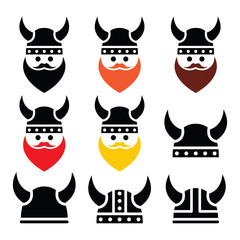 Viking warrior in helmet icons set
