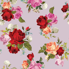 Vector seamless floral pattern with roses
