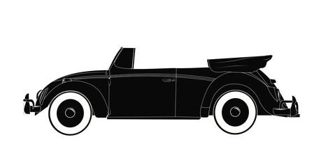 retro convertible  auto  in silhouette