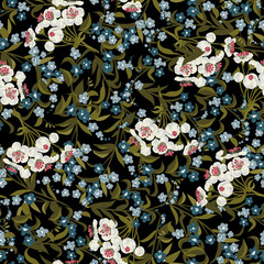 Abstract vector seamless floral pattern with forget-me-not