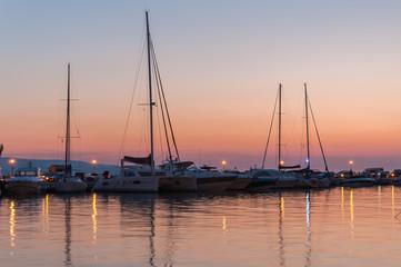Sunset at a pier in Baska Voda