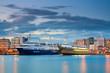 Evening in the passenger port of Piraeus, Athens.