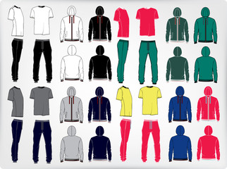 Vector set of men's sport clothes. Men's sports suit.