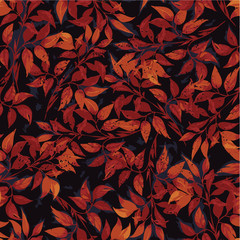 Vector seamless floral pattern with of red ficus leaves