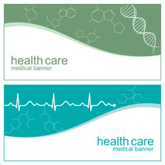 Medical banners with DNA, cardiogram and molecules structure