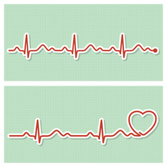 Medical banners with cardiogram line in vintage paper style
