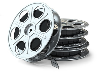 Group of film reels isolated on white background