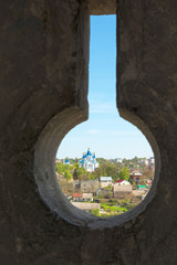 The view from the loopholes of the Old Castle at the town