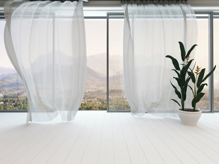 Empty white room interior with window and curtain