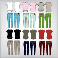 Set of  women's clothes: jeans and shirt