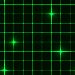 Seamless green grid with stars