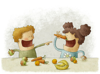 two preschoolers having break for fruits