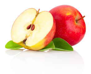 Red apples and half with green leaves isolated on a white backgr