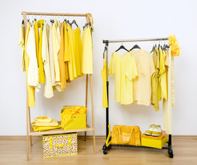 Dressing closet with yellow clothes on hangers and accessories.