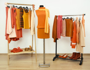 Wardrobe with orange clothes on hangers and outfit on mannequin.